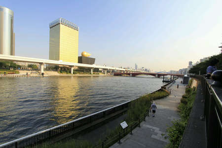 sumida: Buildings and architecture along sumida river japan Stock Photo