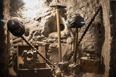 salt mine: mining tools displayed in a salt mine Stock Photo