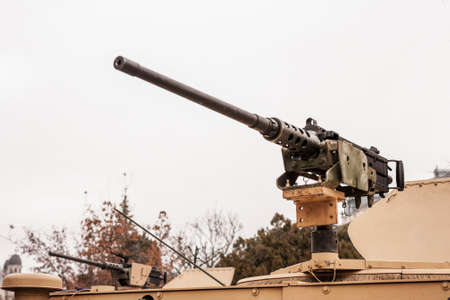 caliber: 50 mm caliber machine gun mounted on a military vehicle Stock Photo