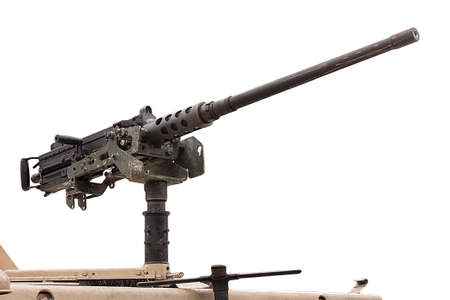 caliber: 50 mm caliber machine gun mounted on a military vehicle isolated on white background