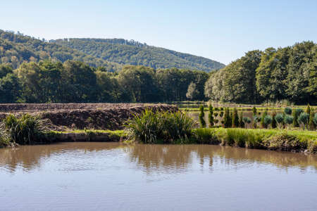 pisciculture: picture of artificial lake surroundid by natural landscape Stock Photo