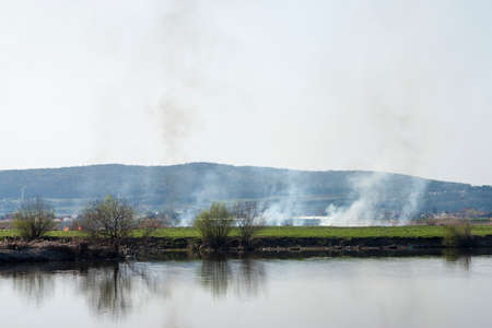 enhanced: Photographic scene showing some burnt vegetation on Mures river bank. On a closer look one can see the desolated scene enhanced by many plastic bottles on the river shore . Stock Photo