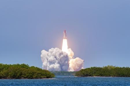 rocket launch: Shuttle launch Atlantis - Cape Canaveral Editorial