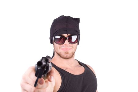 robbed: gangster shoot with gun Stock Photo