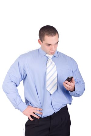 businessman reading sms photo