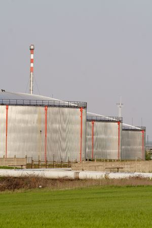oil park: Huge oil tanks in an industry park