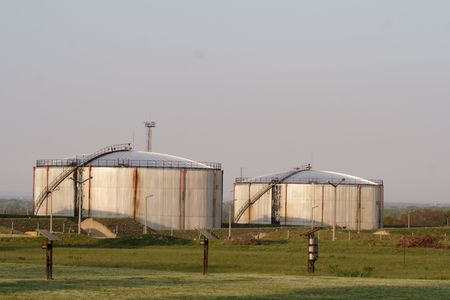 Huge oil tanks in an industry park photo