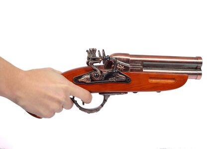 Vieux pistolet en bois isolé sur fond blanc  Banque d'images - 3622256