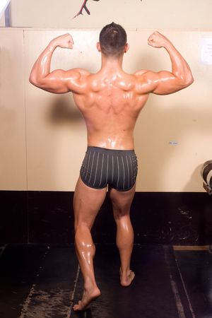 novice: novice bodybuilder posing Stock Photo