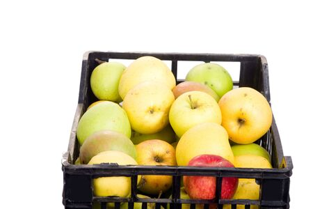 plactic: apples in box Stock Photo