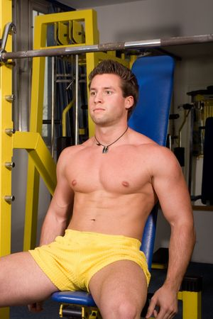 young bodybuilder posing in the gym Stock Photo - 4327819