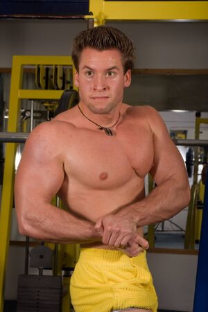 young bodybuilder posing in the gym Stock Photo - 4327818