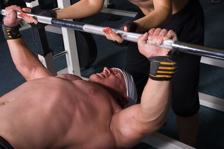 Bodybuilder training in the gym Stock Photo