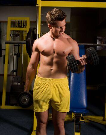 bodybuilder training: young Bodybuilder training Stock Photo