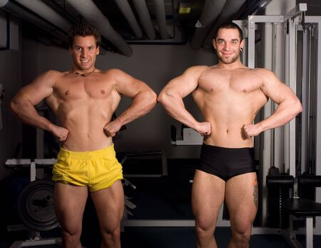 two bodybuider posing photo