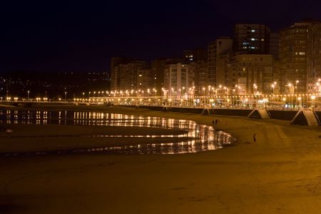 Gijon beach at night Stock Photo - 4893075