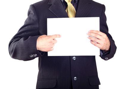 businessman show paper photo