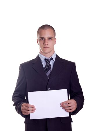 businessman showing a white card photo