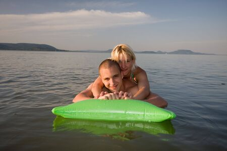 happy couple in holiday photo