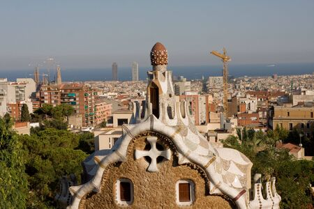 Building in Antoni Gaudis Parc Guell, Barcelona Spain photo