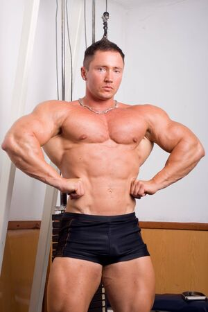 tricep: bodybuilder posing Stock Photo