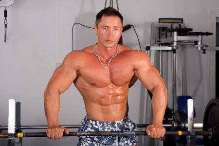 inddor: Bodybuilder training Stock Photo