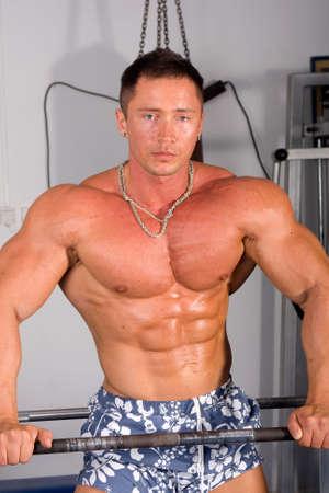 inddor: bodybuilder   Stock Photo