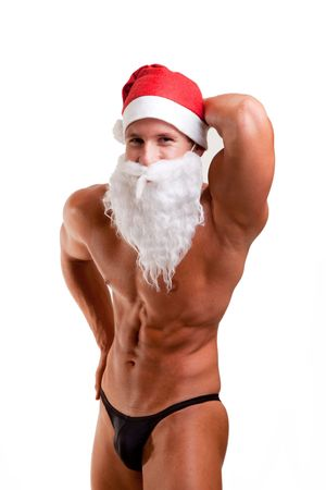 bodybuilder santa claus   photo