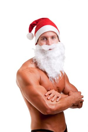 shirtless man: muscular santa claus Stock Photo