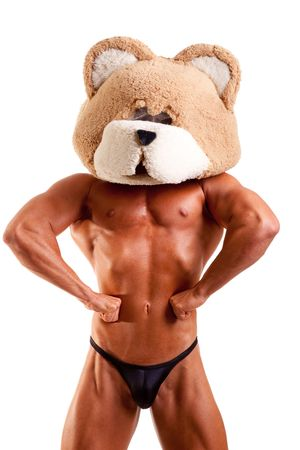 bodybuilder wearing bear mask