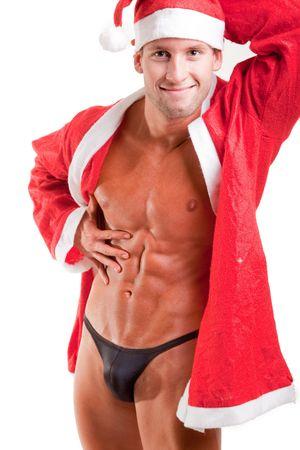 sexy guy: muscular santa claus