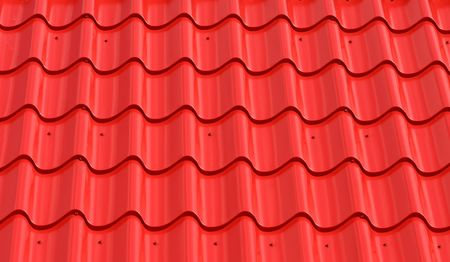 bstract: bstract pattern of red metal roof tiles