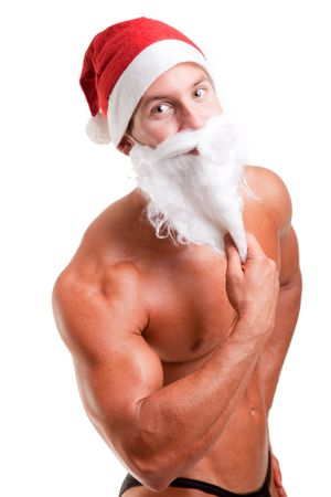 sexy funny: muscular santa claus