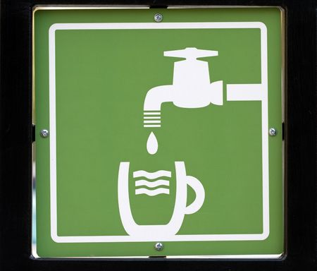 washstand: Drinking Water sign