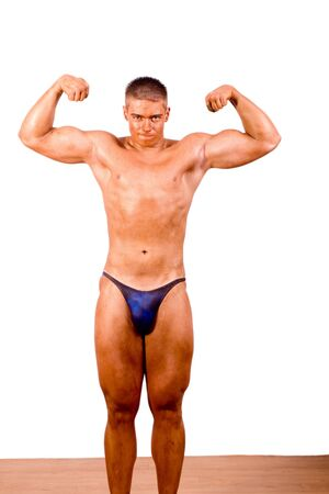 amateur bodybuilder posing over white background Stock Photo - 6210778