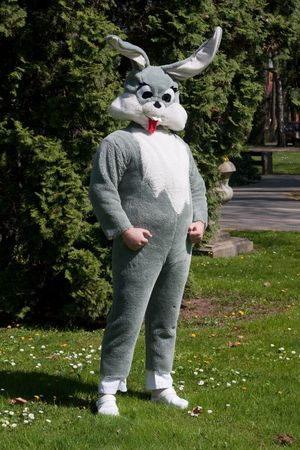 buck teeth: full body portrait of easter bunny Stock Photo