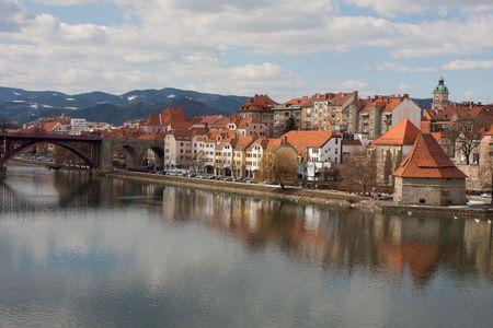 Maribor in Slovenia with river Drava Stock Photo - 6636977