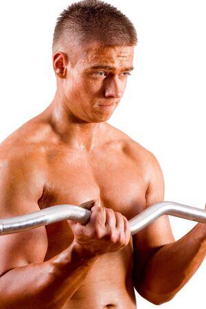 bodybuilder training: amateur bodybuilder training his bicep Stock Photo