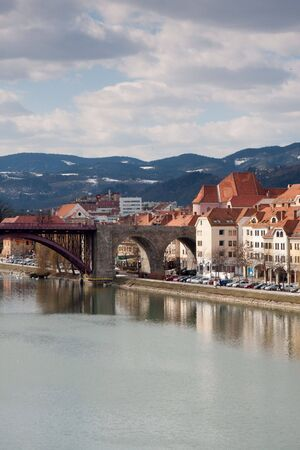 drava: Maribor in Slovenia with river Drava   Stock Photo