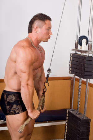 bodybuilder training: bodybuilder training his triceps