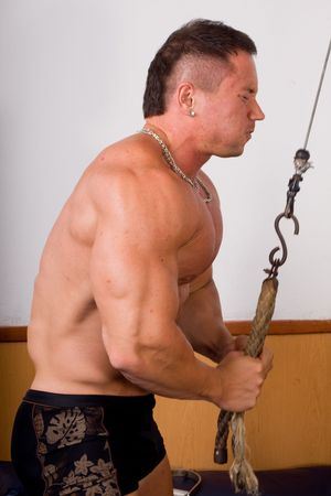 bodybuilder training his triceps Stock Photo - 7050177