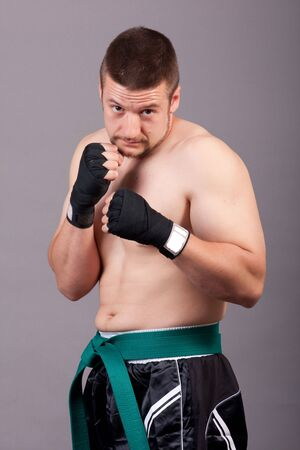 forearms: kick-boxer training before fight Stock Photo