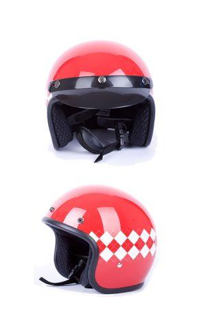 retro motorbike helmets on white photo