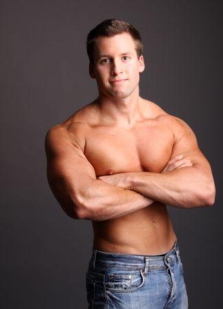 muscular model posing in studio Stock Photo - 7452636