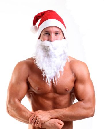 weihnachtsmann lustig: Bodybuilder posing Santa claus Lizenzfreie Bilder