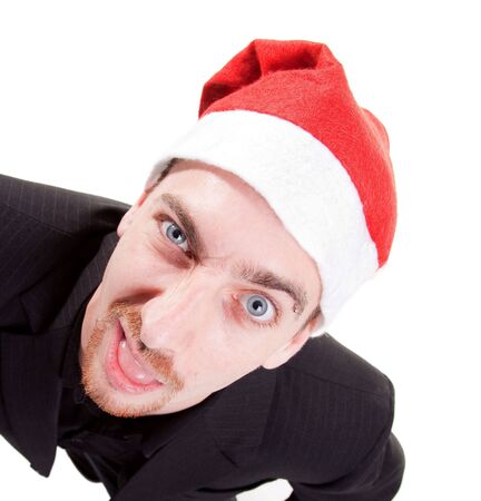 elevated view: young man wearing santa hat