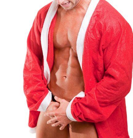 bare chest: muscular santa claus Stock Photo