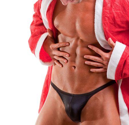muskuläre Santa Claus zeigen seine abs