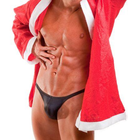 santa suit: muscular santa claus