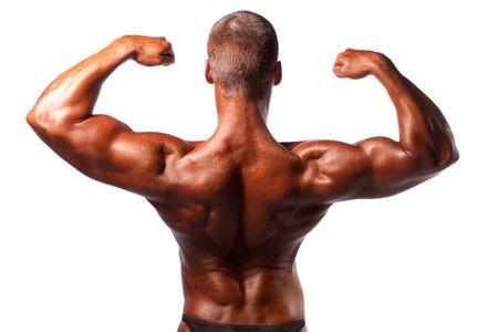 lats: bodybuilder posing over white background